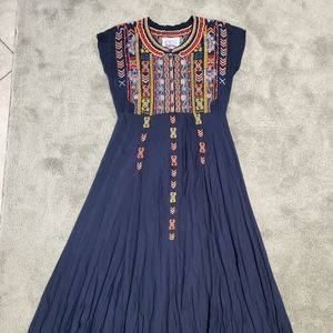 Johnny Was Biya Navy Night Maxi Dress
